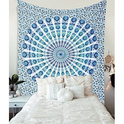 (Queen 230 X 215 Cms/90 X 84 Inches, Blue White) - Globus Choice Inc Blue Cotton Intricate Floral...