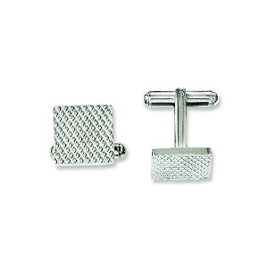 ChiselステンレススチールPolished and Textured Cuff Links