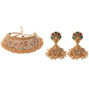 Prakash Jewellers Multi Colour One GramメッキクラスタPearl Choker Set for Women