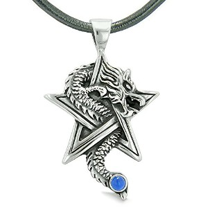 勇気Dragon Magical Powers Star Pentacle Amulet AquaブルーSimulated Cats Eyeペンダントレザーネックレス