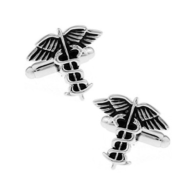 LBFEEL Caduceus Medical Symbol Cufflinks for Men with aギフトボックス