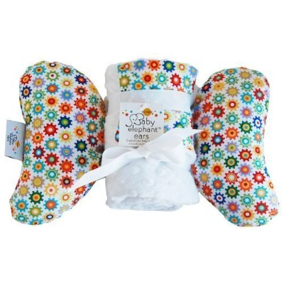 Baby Elephant Ears Head Support Pillow & Matching Blanket Gift Set (Sprockets) by Baby Elephant Ears