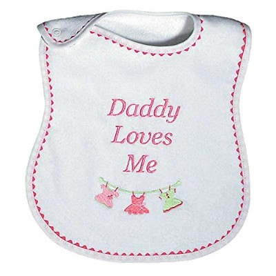 Raindrops Daddy Loves Me Embroidered Bib, Strawberry/Hot Pink by Raindrops