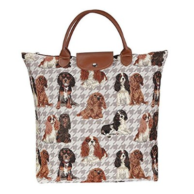 Signare Re-usable Tapestry Foldaway Shopping Bag in 8 Animal Designs (Cavalier King Charles Spaniel...