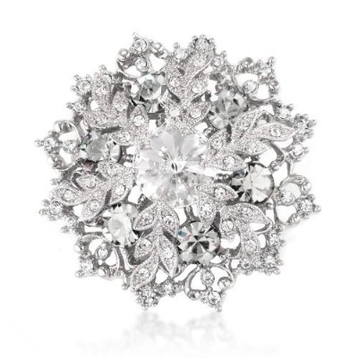 White. Elements Crystals Snowflake Brooch and Pendant - White Gold Plated - Silver Tone - Flower -...