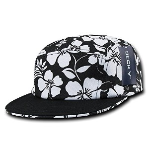 Decky 1070-BLK Solid Bill 5 Panel Floral Racer Cap, Black