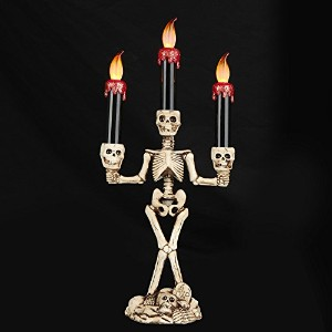 ELINKUMEハロウィンスケルトンSculpture Triple LED Flameless Candle HolderファンタジーCandle SticksキットFaux Stone...