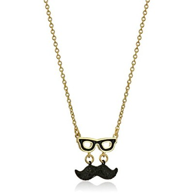 "[ケイト・スペード ニューヨーク]Kate Spade New York Mustache Mini Black/Multi-Colored Pendant Necklace, 17"" +..."