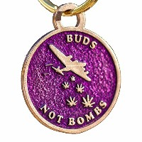 Buds Not Bombs High FlyerパープルHazeエナメルキーチェーン