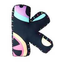 One Grace Place Magical Michayla Letter Pillow K, Black, Purple and Turquoise by One Grace Place