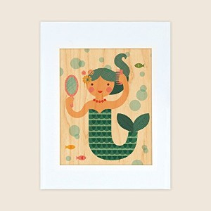 Petit Collage Unframed Print on Wood, Mermaid, Small by Petit Collage