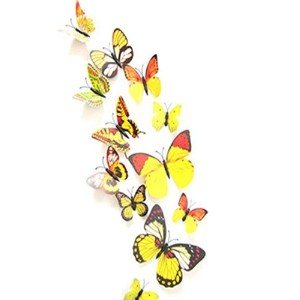 12 Set PVC 3d Butterfly Decal Wall Stickers Kids Room Decor Decoration Sticker (Yellow) by ACEFAST