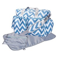 Trend Lab Chevron Deluxe Duffle Diaper Bag, Blue/White by Trend Lab