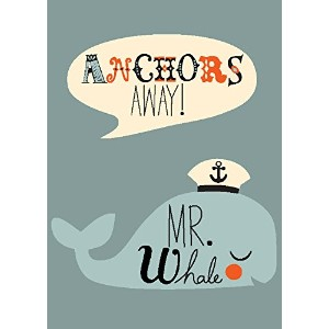 """Oopsy Daisy Fine Art for Kids Anchors Away Mr。Whaleキャンバス壁アートby Amy Blay 10 x 14"""" NB21814"""