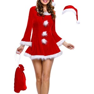 Zhuhaitf Funny Ladies Clothes Santa Claus Costumes Red Dresses Set Stage Performances Dance Dress...