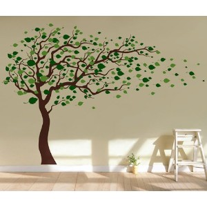 Pop Decors Removable Vinyl Art Wall Decals Mural, Tree Blowing in the Wind by Pop Decors