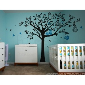 PopDecors - Nursery Tree with Cute Owls A- Free Squeegee and color change - Nursery Tree Decals...