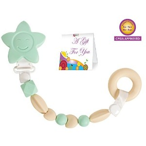Teether Toy Pacifier Clip - Baby Girl or Boy Star Beaded Silicone Teething Toy and Pacifier Clip -...