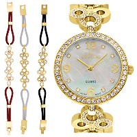 Ladies Goldtone Mother of Pearl Dial Watch with Crystal Bezel & Bracelet Set