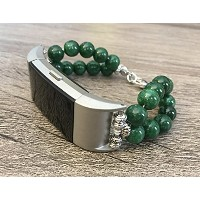 Green Jade Natural Stones Bracelet For Fitbit Charge 2 Fitness Tracker Natural Beads Band Silver...