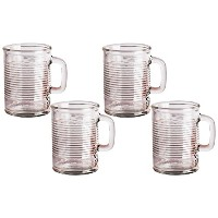 ?Can Shaped Drinking Glasses Set with Glass Handles, 17 Ounce, Set of 4, Clear Heavy Base Yorkshire...