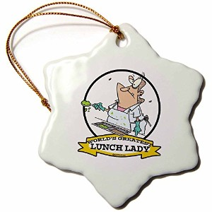 3drose Dooni Designs Worlds Greatest漫画–Funny Worlds Greatest Lunch Lady Cartoon–Ornaments 3...