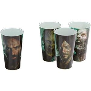 AMC The Walking Dead文字印刷Pint Glass withブルー色4のセット、16oz