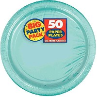 Amscan AMI 650013.121Amscan Robbins Egg Blue Big Party Pack Dinner Plates ( 50Count )、1、ブルー