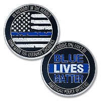 1PC鉄メッキシルバーブルーLives Challenge Coin American Police Officers