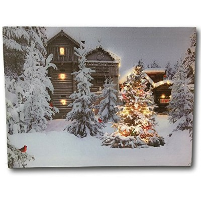 Lightedクリスマス壁アート–12x 16キャンバス印刷with Cardinals and Trees in an外冬シーン–冬Picture with LED lights