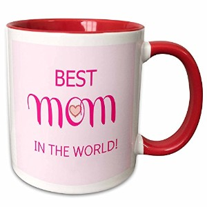 リナピロ – 引用 – Best Mom in the World。ピンク – マグカップ 11-oz Two-Tone Red Mug mug_211201_5
