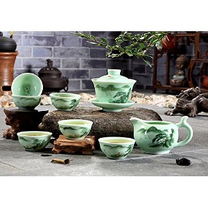 XDOBO High End Celadon Teaセット手描きKung Fu Tea Set Chinese Traditional Celadon Kiln Ceramicsティーポットヴィンテー...
