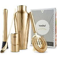 VonShefプレミアムBrushedゴールドエッチングParisian Cocktail Shaker Barware Set with Stand inギフトボックスwithレシピガイド...