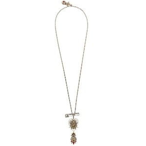 Alexander McQueen - Jewelled Heart ロケットネックレス - women - クリスタル/パール/真鍮/glass - ワンサイズ