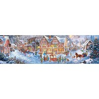 【[バッファローゲーム]Buffalo Games Christmas Village Panoramic Jigsaw Puzzle From The Holiday Collection...