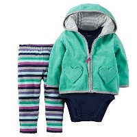 Carters Baby Girls 3-Piece Cardigan Set Mint Stripe 3 Months by Carter's