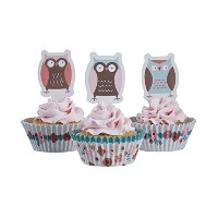 Ginger Ray PatchworkフクロウCupcake Cases &ケーキトッパー装飾セット、ミックス PO-405