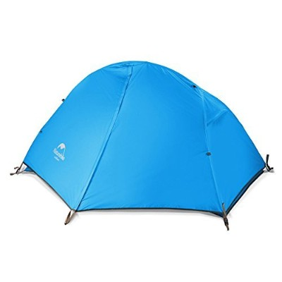 Naturehike1 Personテント3シーズンズキャンプテント超軽量屋外テント防水テント (Blue (210T checked fabric))