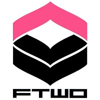 16-17 FTWO CUT-IN STICKER LOGO 大 03-PINK×BLACK カットイン ステッカー ロゴ