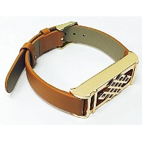 BSI Brown Leather Replacement Bracelet With New Unique Design Rose Gold Metal Housing For Fitbit...