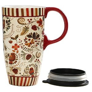 旅行コーヒーセラミックマグ磁器Latte Tea Cup with Lid 17oz。Floral Symphony by Cypress