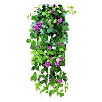 Zhhlinyuan 造花 植物 吊り 2pcs Artificial Ivy Vine Leaf Garland Hanging Vine Fake Silk Rose Flower...