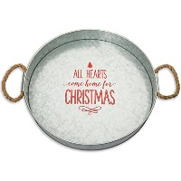 Brownlowギフト亜鉛メッキメタルRound Serving Tray , All hearts come home for Christmas