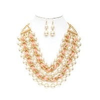 Desiree Simulated Pearl andベルベットIntertwinedチェーンネックレスとイヤリングセット
