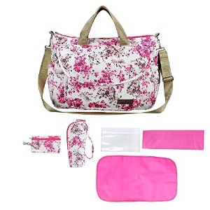 larsuyar 100% Cotton 6 Pieces Diaper Tote Bag Set, 7-inch By 16.54-inch By 26-inch (Flowers Pink)...