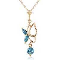 "K14 Yellow Gold 18"" Necklace with Blue Topaz Butterfly Pendant"