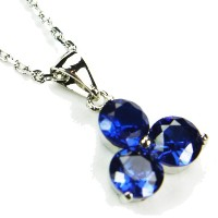 """cz-triangleネックレス、sapphire-colored CZ、18"""""""