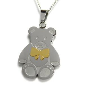 Teddy Bear Pendant with Gold Colored Bow–You Are Beary Special to Me–ステンレススチールネックレス