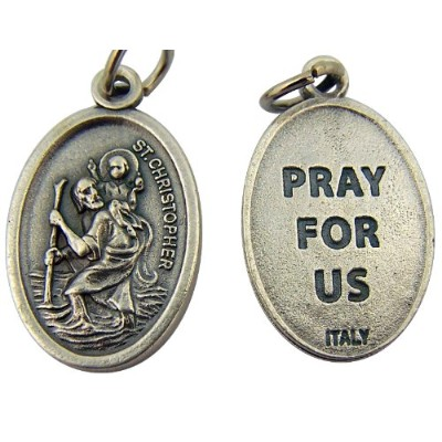 1インチ楕円形シルバートーンSaint Christopher Pray For Us Medal