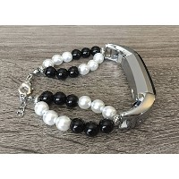 Two Toned Black & White Pearls Bracelet For Fitbit Alta & Alta HR Fitness Tracker Natural Stones...